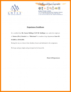 letter of intent for business work experience letter samples from employer
