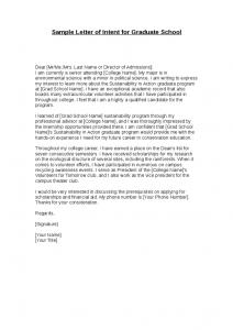 letter of intent for graduate school sample letter of intent for graduate school