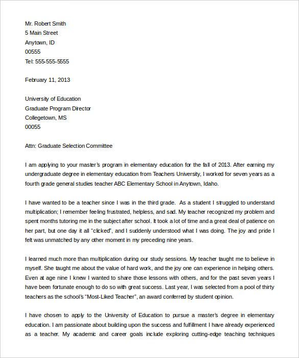 letter of intent graduate school