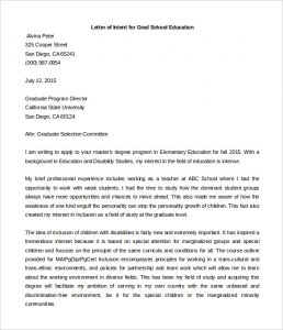 letter of intent graduate school letter of intent grad school education template word format
