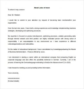 letter of intent sample model letter of intent template word format