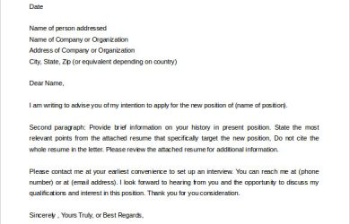 letter of intent template simple letter of intent for job new position sample for free