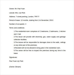 letter of intent to lease basic residential room rental agreement