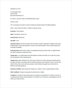 letter of intent to purchase formal letter of intent to purchase property
