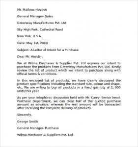 letter of intent to purchase letter of intent to purchase products