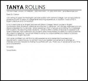 letter of interest samples english lecturer