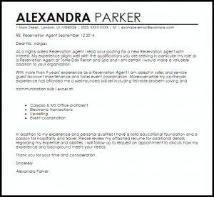 letter of interest samples reservation agent