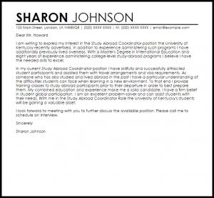 letter of interest samples study abroad coordinator