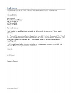letter of interest samples waitress cover letter sample waitress resume job search cover letter and waiter