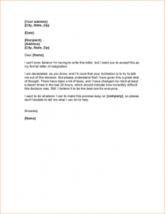 letter of notice weeks notice resignation letter resignation letter with regret