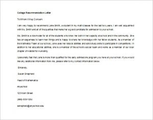 letter of recommendation for a student editable letter of recommendation for college student in word