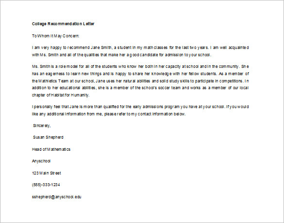 letter of recommendation for a student