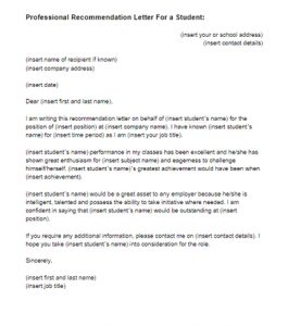 letter of recommendation for a student recommendation letter for a student