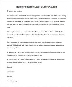 letter of recommendation for a student recommendation letter student council