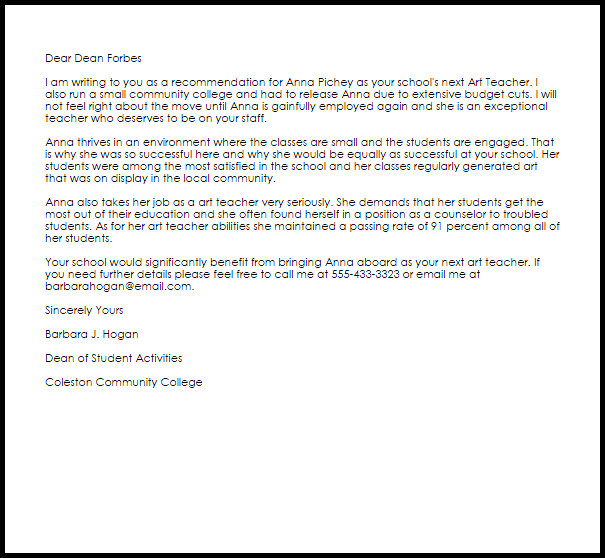 letter of recommendation for college scholarship