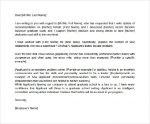 letter of recommendation for graduate school letter of recommendation for graduate school from employer in word