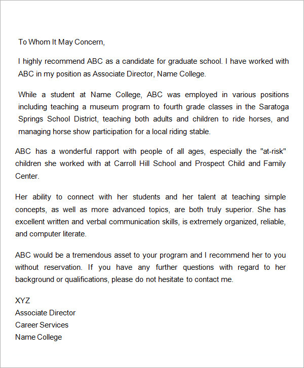 letter of recommendation for graduate school