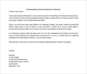 letter of recommendation for scholarship letter of recommendation for scholarship from employer word doc