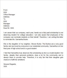 letter of recommendation for scholarship letter of recommendation scholarship format