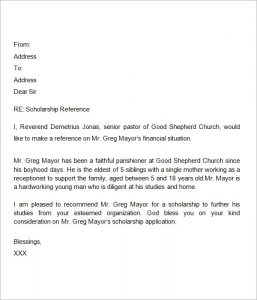 letter of recommendation for scholarship sample letter of recommendation for scholarship from pastor