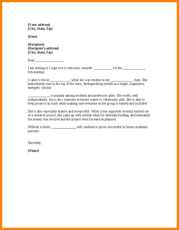 Letter Of Recommendation For Scholarship | Template Business