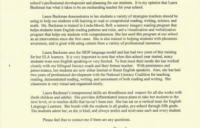 letter of recommendation for teacher letter of recommendation from elementary school teacher susan k amador 1 728
