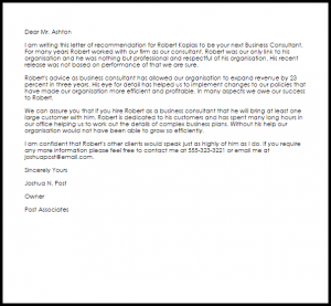 letter of recommendation for teacher position business consultant recommendation letter