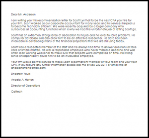letter of recommendation for teacher position cpa recommendation letter