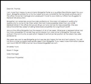 letter of recommendation for teacher position real estate agent recommendation letter