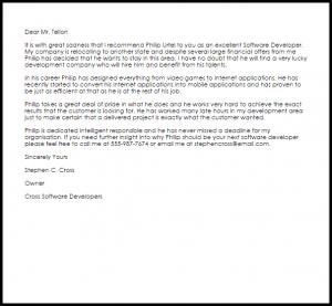 letter of recommendation for teacher position software developer recommendation letter
