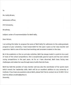 letter of recommendation template for student letter of recommendation for college student