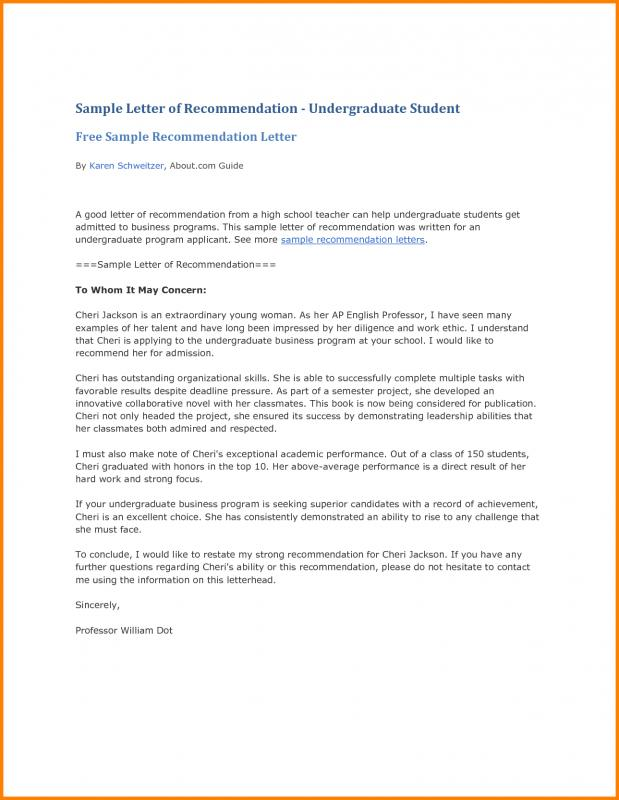 letter of recommendation template for student