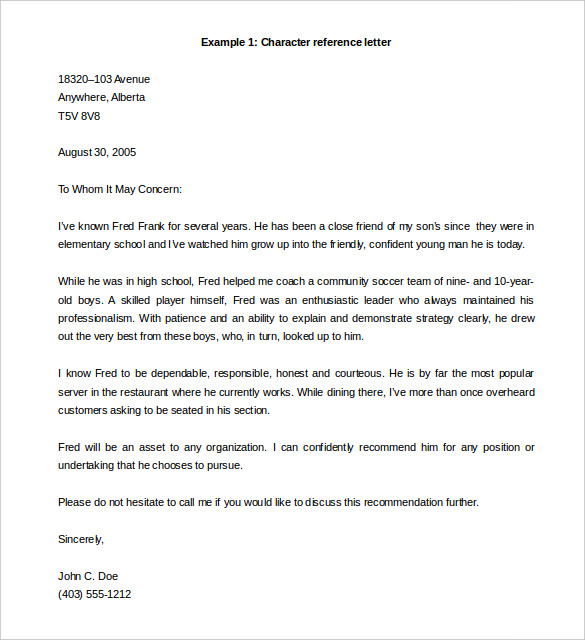 letter of recommendation template word