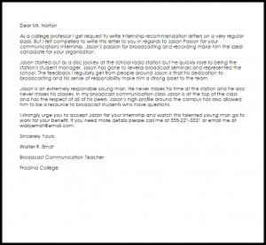 letter of recommendation templates internship recommendation letter