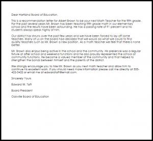 letter of recommendation templates math teacher recommendation letter