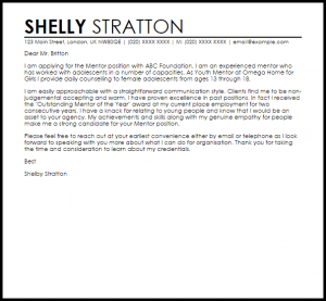 letter of recommendation templates mentor
