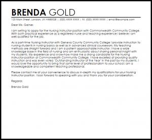 letter of recommendation templates nursing instructor