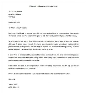 letter of reference template free character reference letter template example word doc