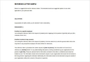 letter of reference template free sample reference letter template download