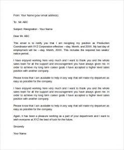 letter of resignation email email formal resignation letter