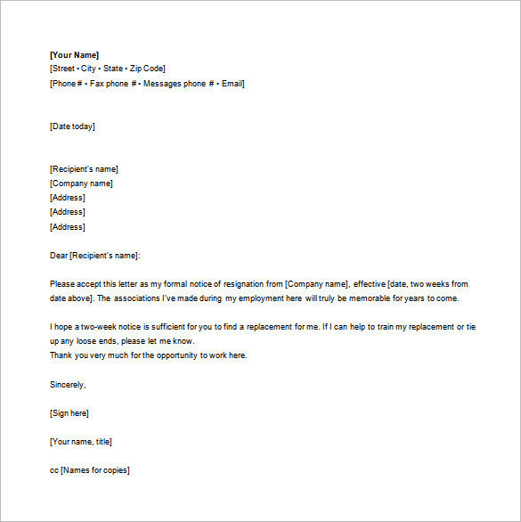letter of resignation email