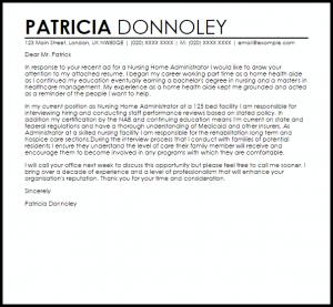 letter of resignation nursing nursing home administrator