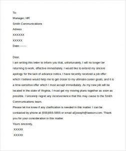 letter of resignation templates word no notice resignation for download