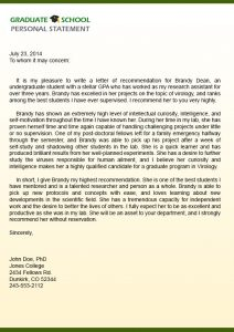letter of support samples graduate school letter of recommendation sample