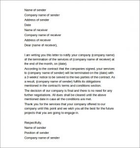 letter of termination company services termination letter
