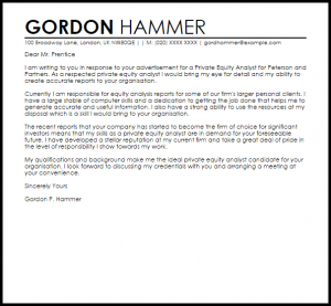 letter of termination of employee private equity analyst