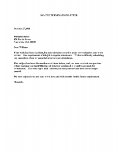 letter of termination termination letter