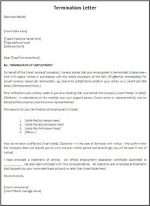letter of termination termination letter template