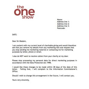 letter requesting donations one show charity letter
