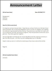 letter template word announcement letter template